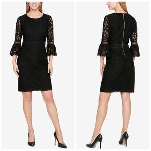 Tommy Hilfiger Lace Bell Sleeve Black Dress Size 4